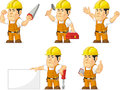 Strong Construction Worker Mascot Royalty Free Stock Photo