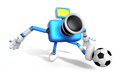 Strong d blue camera character kicking a soccer ball create robot series Stock Photos