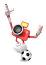 Strong d camera character kicking a soccer ball create d came robot series Stock Photography