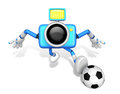 Strong d camera character kicking a soccer ball create d came robot series Stock Images