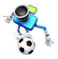 Strong d camera character kicking a soccer ball create d came robot series Royalty Free Stock Photos