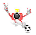 Strong d camera character kicking a soccer ball create d came robot series Royalty Free Stock Image