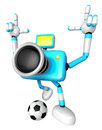 Strong d camera character kicking a soccer ball create d came robot series Stock Photos