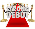 Strong debut red carpet d words launching new product business on a next to gold stanchions and black velvet ropes to illustrate Stock Photography