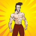 Strong dude illustration of a martial arts fighter or athletic man Royalty Free Stock Photos