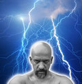 Strong fearless man hit by multiple lightnings Stock Images