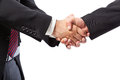 Strong handshake two businessman shaking hands on a white background Stock Photography