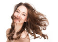 Strong healthy hair portrait of a brunette beauty with Stock Image
