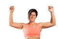Strong lady a woman shows her muscles isolated on a white background Stock Images
