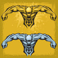 Strong male in tattoo style stylized design element two different color versions on a grunge splattered yellow gold background Royalty Free Stock Images