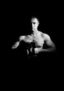 Strong man dumbbells monochrome Stock Photo