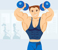 Strong man exercising in the gym illustration Royalty Free Stock Photos