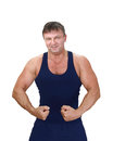 Strong man muscular isolated on white background Stock Photos