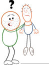 Strong man and thin man vector cartoon of outline Stock Image
