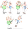 Strong man and thin man vector cartoon set three cartoons Royalty Free Stock Images