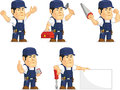 Strong mechanic mascot a vector set of a male in several poses drawn in cartoon style this vector is very good for design that Stock Photography