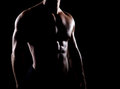Strong and muscular body of man shaded over black background Royalty Free Stock Photography