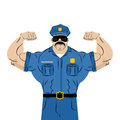 Strong power police officer. large man in police uniform. Royalty Free Stock Photo
