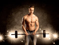 Strong sexy male working out