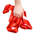 Strong woman hand with ribbon Royalty Free Stock Photo