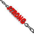 Strong word chained on white background in red concept of strength and endurance Stock Images