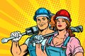 Strong workers, man and woman. labor day. equality Royalty Free Stock Photo