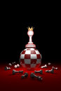 The strongest figure chess metaphor. 3D render illustration. F
