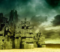 Stronghold fantastic gloomy landscape with castle Royalty Free Stock Photography