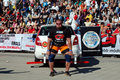 Strongman championship the lifts the car on in novi sad in serbia Royalty Free Stock Photo