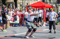 Strongman competitions raises dumbbell hand lviv ukraine july yarych street fest Stock Image