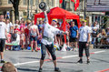 Strongman competitions raises dumbbell hand lviv ukraine july yarych street fest Stock Images