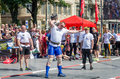 Strongman competitions raises dumbbell hand lviv ukraine july yarych street fest Royalty Free Stock Photo