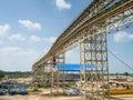 Structure conveyor belt in factory Stock Photos