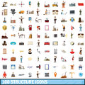 100 structure icons set, cartoon style