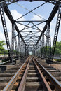 Structure of metal railway bridge old Royalty Free Stock Photography