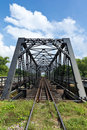 Structure of metal railway bridge old Stock Image