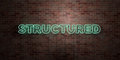 STRUCTURED - fluorescent Neon tube Sign on brickwork - Front view - 3D rendered royalty free stock picture