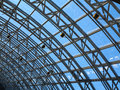Structures of skylight glass roof window and blue sky Royalty Free Stock Image