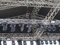 Structures of stage illumination spotlights equipment and speake elements speakers Stock Photography