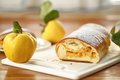 Strudel with quince sweet stuffed on the table Stock Images