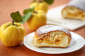 Strudel with quince sweet stuffed on the table Stock Photo