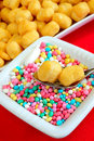 Struffoli neapolitan food in christmas time fried pastry with honey Royalty Free Stock Photos