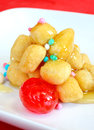 Struffoli neapolitan food in christmas time fried pastry with honey Royalty Free Stock Photography