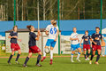 Struggle for ball on field during match moscow aug between female teams csp izmailovo moscow and mordovochka saransk at stadium of Royalty Free Stock Photography