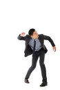Struggle pose of asian business man full length isolated Stock Photo
