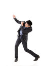 Struggle pose of asian business man full length isolated Royalty Free Stock Photos