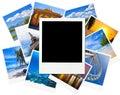 Struttura istantanea della foto sopra le immagini di viaggio isolate su bianco Fotografia Stock Libera da Diritti