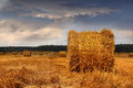 Stubble field and hay bales with straw or under a spectacular summer sky at sunset Stock Photo