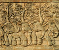Stucco carved wall depicting 5 elephants Stock Images