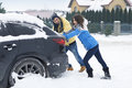 Stuck car in snowdrift is big problem for us Stock Image